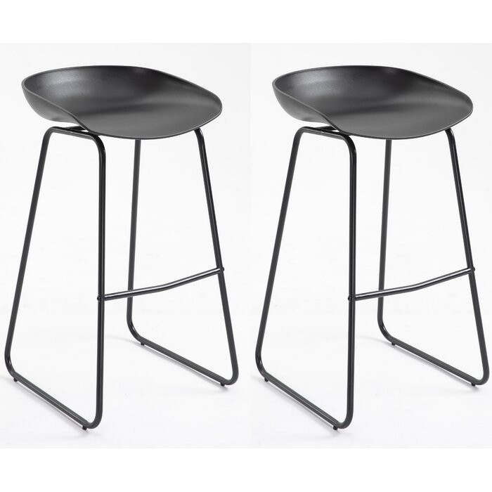 Set de 2 scaune de bar Alabama, metal/plastic, negre, 84 x 42 x 42 cm