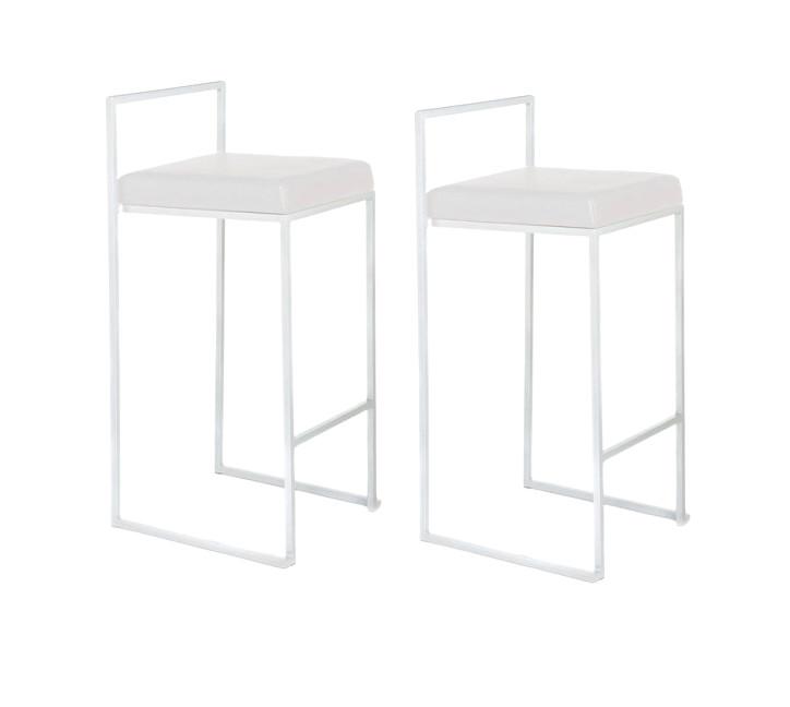 Set de 2 scaune de bar Dodo albe, metal/ piele sintetică chilipirul-zilei 2021