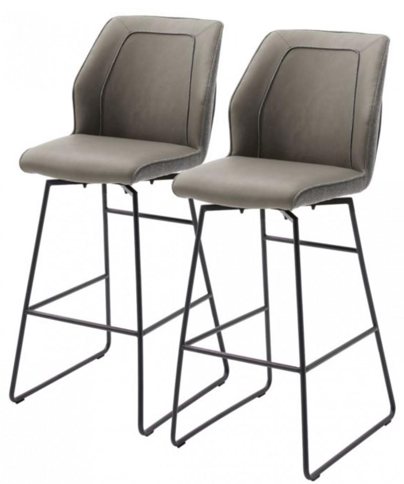 Set de 2 scaune de bar Macapa piele sintetica/tesatura /otel, gri, 46 x 116 x 58 cm chilipirul-zilei 2021
