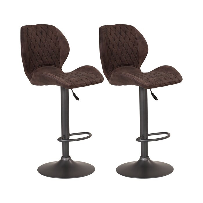 Set de 2 scaune de bar Musa, maro/antracit, 42 x 51 cm chilipirul-zilei 2021