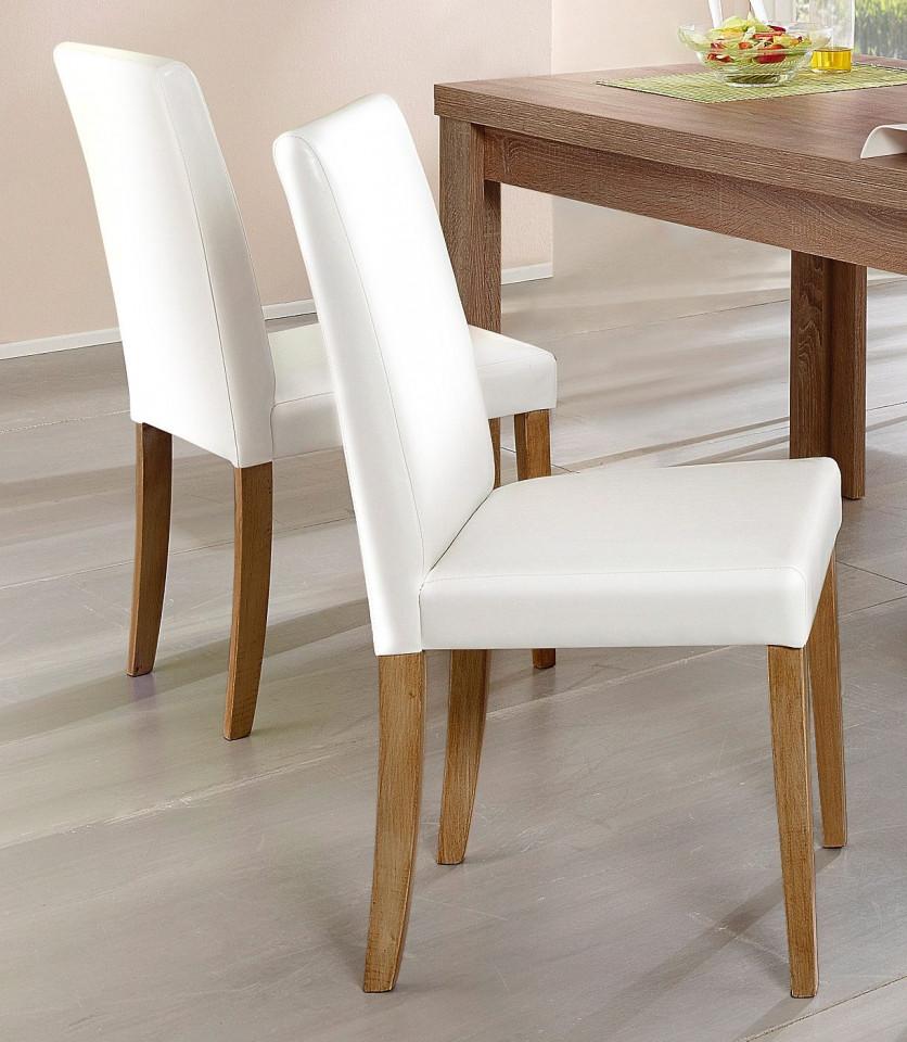 Set de 2 scaune Lion piele sintetica - alba/stejar