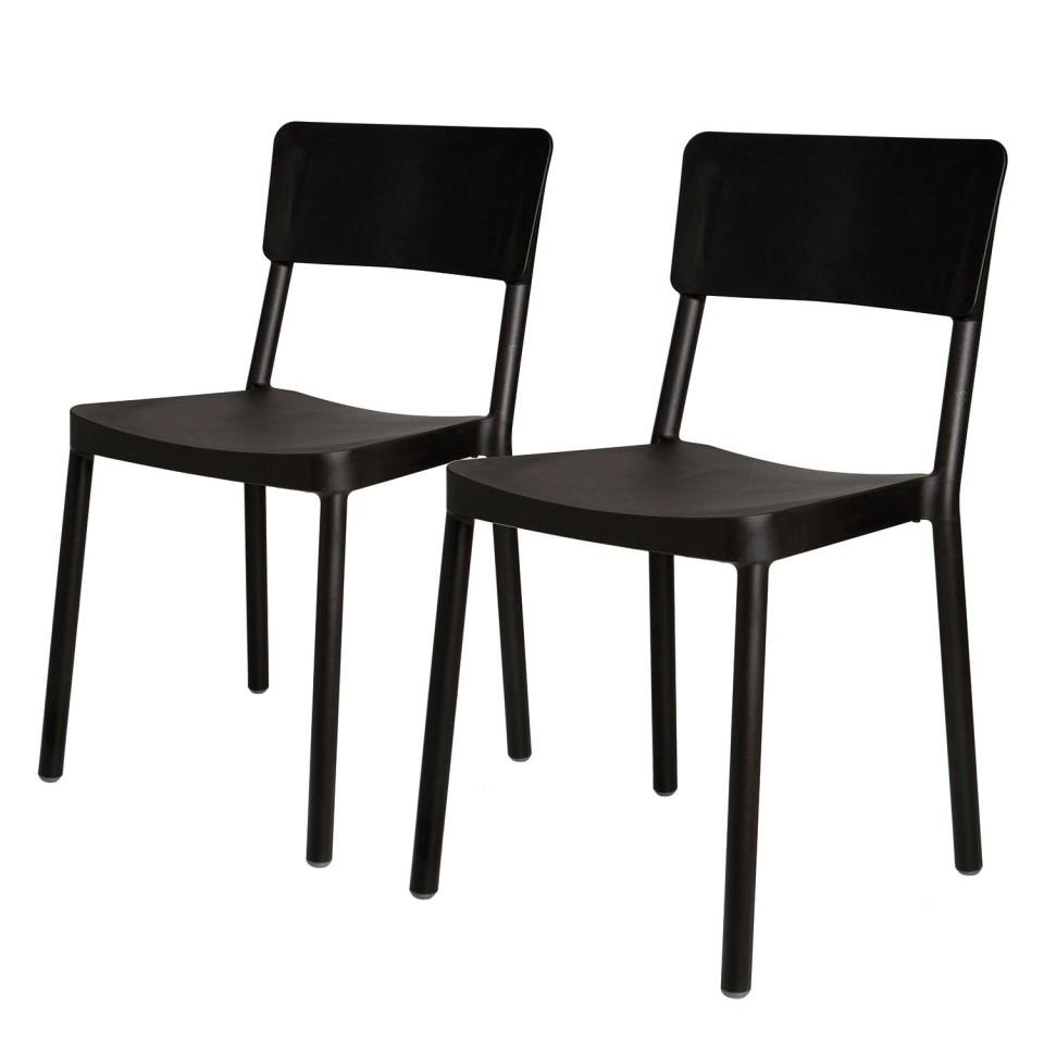 Set de 2 scaune Lisboa polipropilenă, negru, 82 x 52 x 48 cm