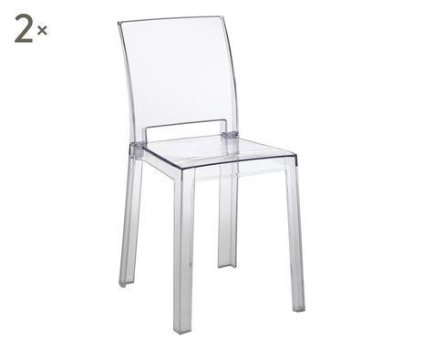 Set de 2 scaune Mia plastic, transparent, 46 x 82 x 44 cm