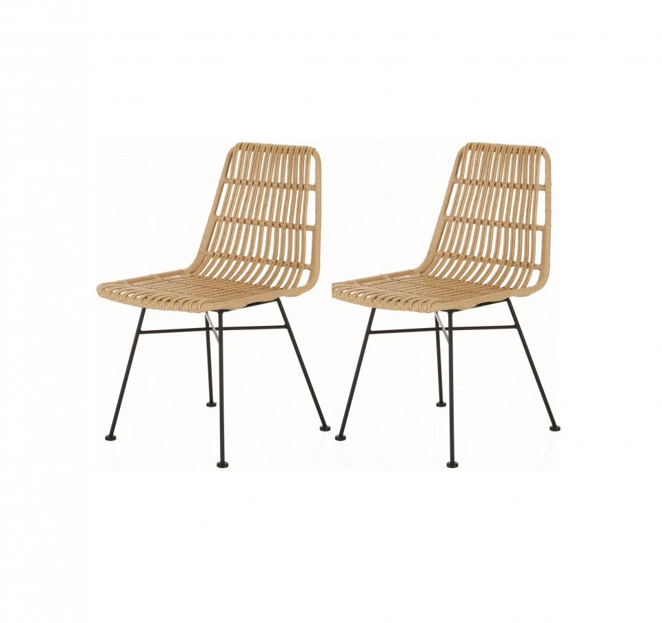 Set de 2 scaune ratan Costa, natur/negru