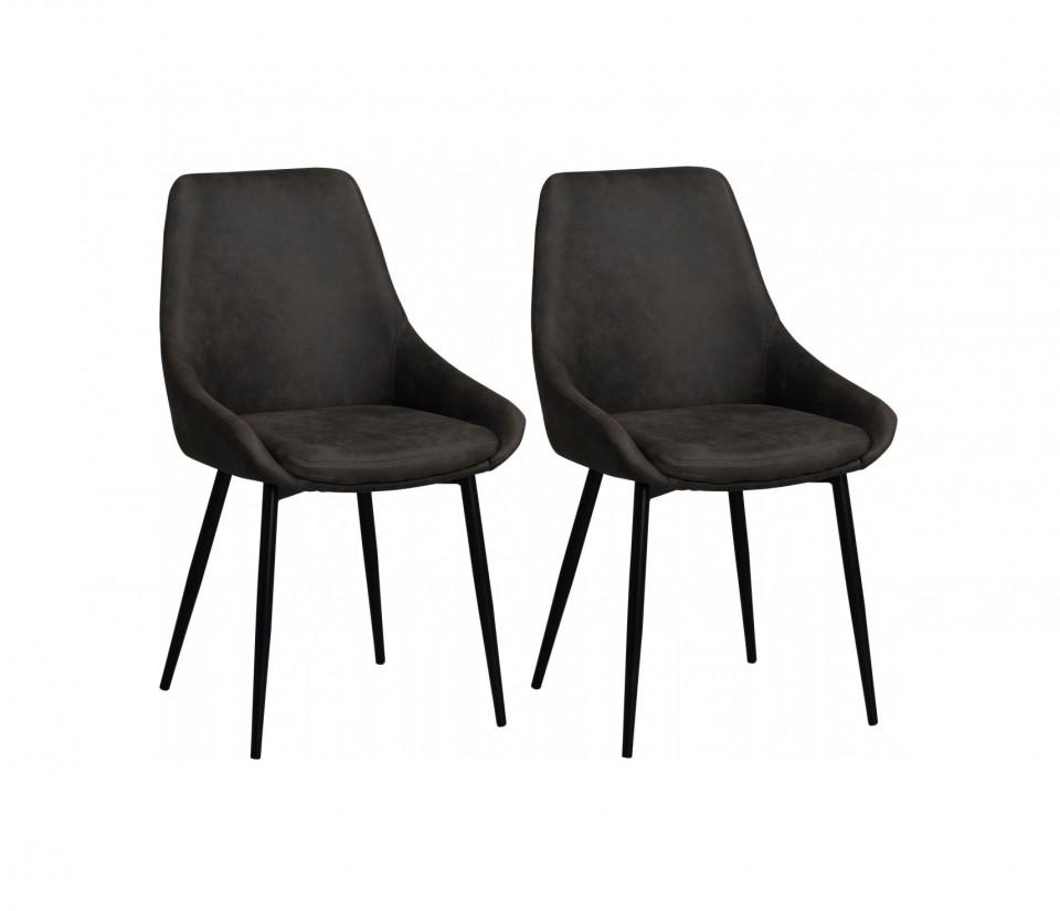 Set de 2 scaune Sierra, negre, 49 x 85 x 55 cm imagine chilipirul-zilei.ro