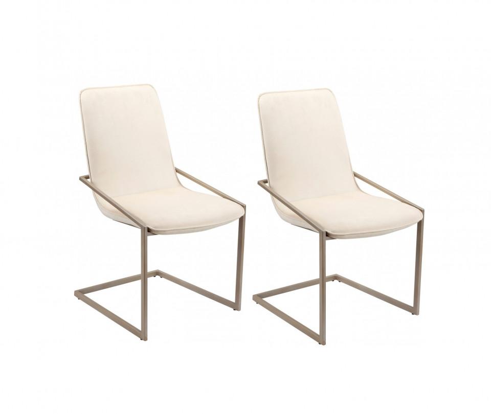 Set de 2 scaune Vigga, catifea bej