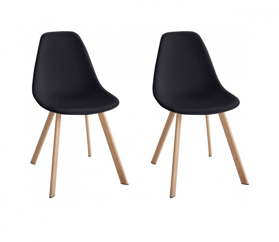 Set de 4 scaune Veneto, plastic/metal, negru/maro, 45 x 54 x 82 cm poza chilipirul-zilei.ro