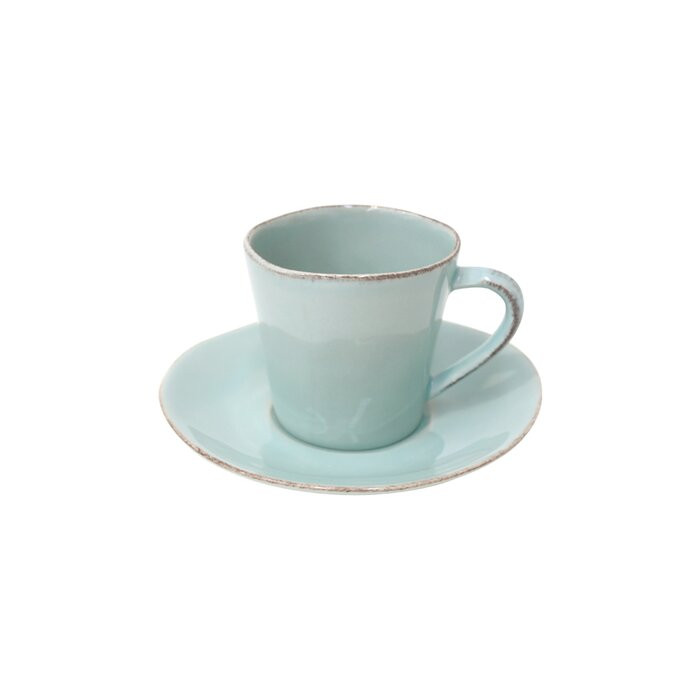 set de 6 cesti si farfurii de cafea Treanor, turcoaz 2021 chilipirul-zilei.ro