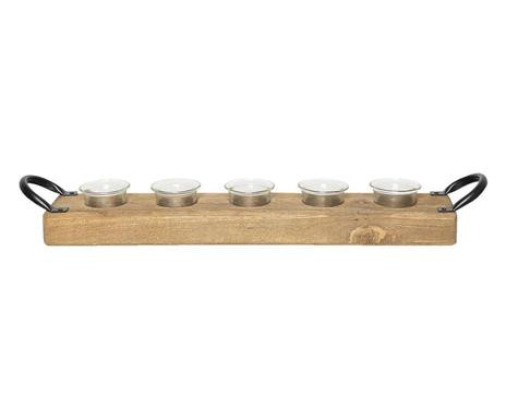 Suport lumânări Jonas din lemn, 56x9x9cm imagine 2021 chilipirul zilei