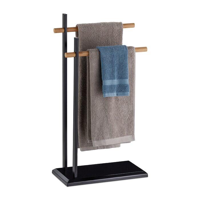 Suport pentru prosoape Steffen, metal/lemn, negru, 85,5 x 45 x 22,5 cm poza chilipirul-zilei.ro