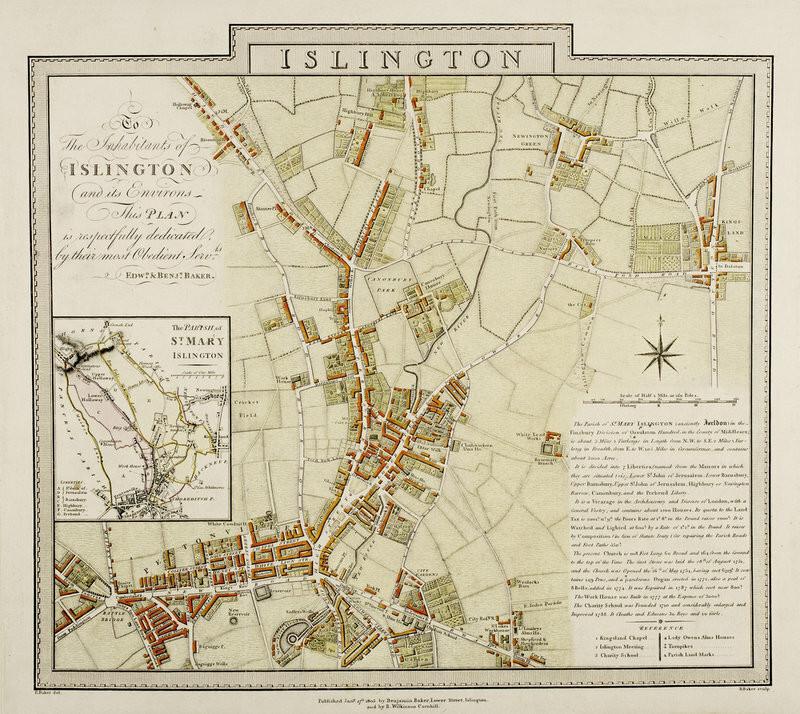 Tablou canvas Map of Islington London by Edward and Benjamin Baker chilipirul-zilei 2021