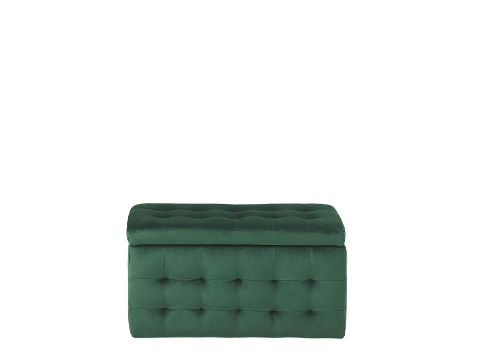 Taburet stil otoman MICHIGAN, poliester/catifea, verde, 72 x 42 x 40 cm