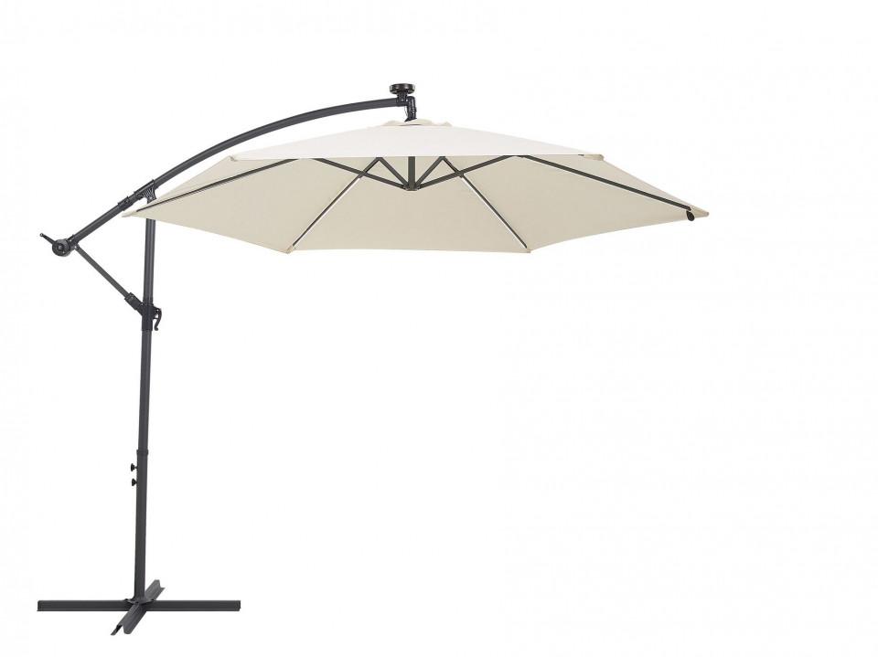 Umbrelă de terasă cu lumini LED CORVAL, Bej, 270 x 285 x 285 cm poza chilipirul-zilei.ro