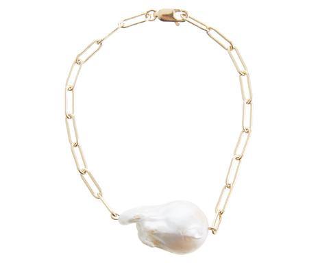 Brățară Elenor cu pandantiv de perle de cultură baroc alb