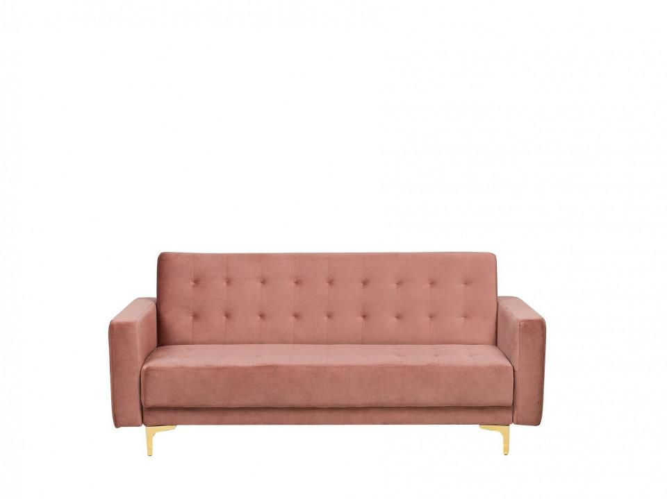 Canapea extensibila ABERDEEN, lemn/catifea, roz, 83 x 186 x 88 cm