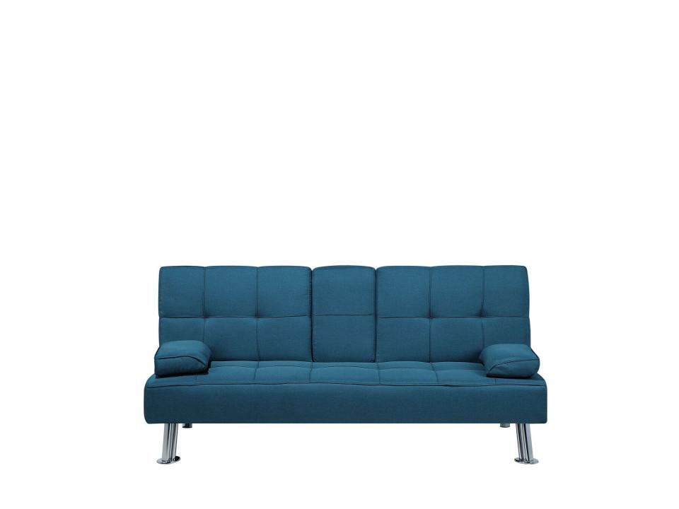 Canapea extensibila ROXEN, lemn/metal, albastra, 77 x 168 x 81 cm