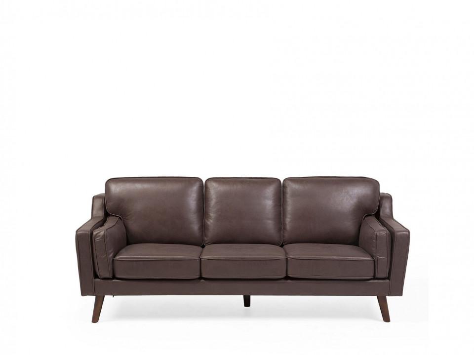 Canapea LOKKA, lemn/piele ecologica, maro, 85 x 83 x 204 cm