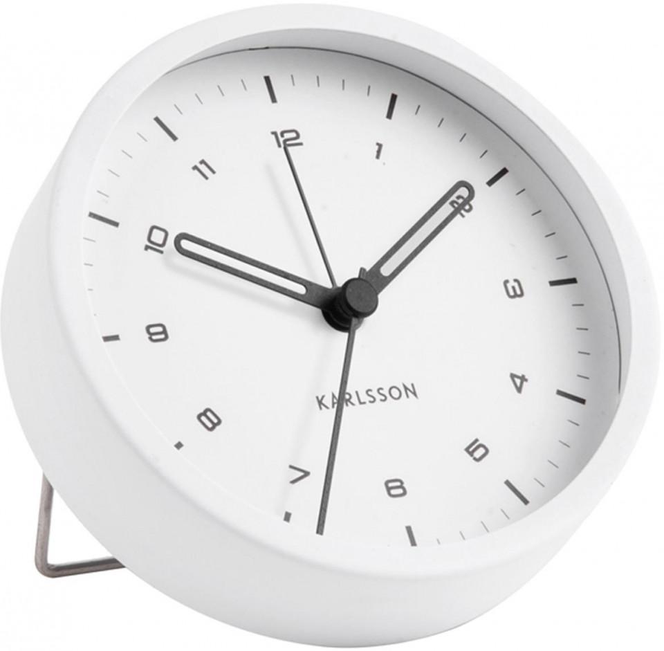 Ceas cu alarma Karlsson, alb, 9 x 3 cm 2021 chilipirul-zilei.ro