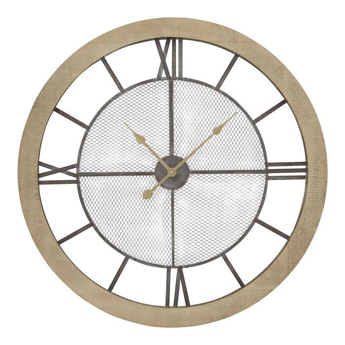 Ceas de perete Coquelicot XXL, gri/maro, 80 x 80 x 5,5 cm chilipirul-zilei.ro