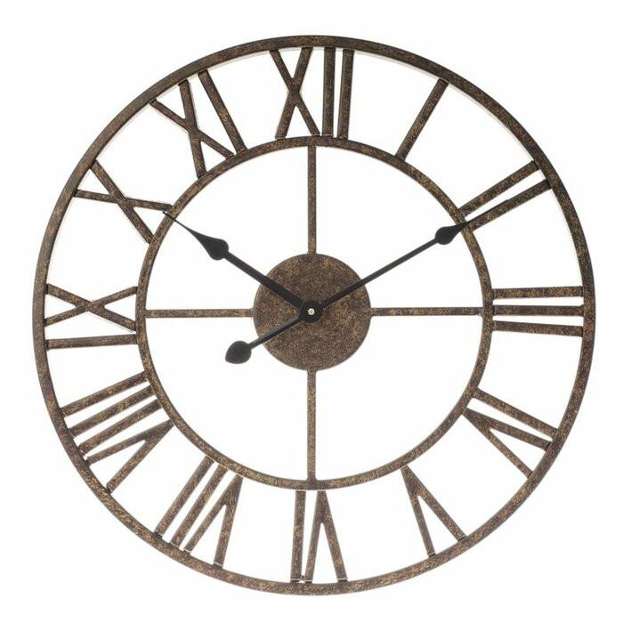 Ceas de perete Hobson, metal, maro, 40 x 40 x 4 cm imagine 2021 chilipirul zilei