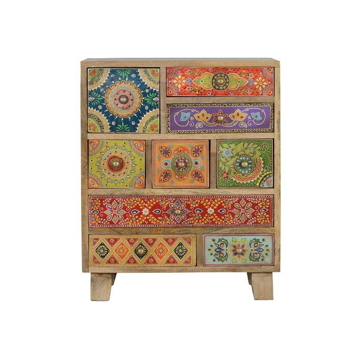 Comoda Trisha, lemn, multicolora, 63 x 52 x 30 cm 2021 chilipirul-zilei.ro