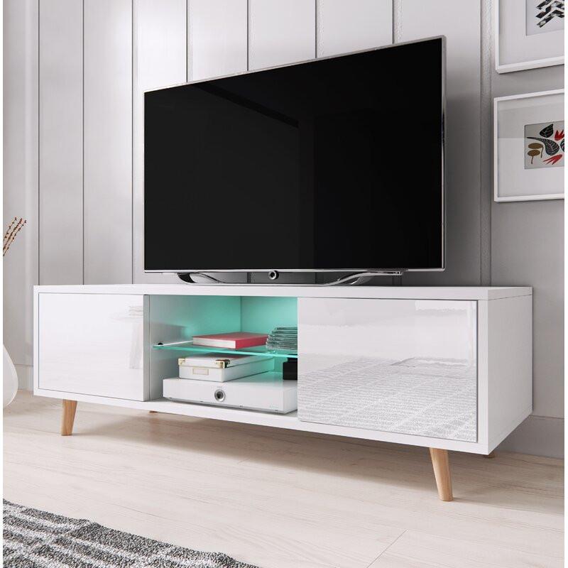 "Comoda TV 60 "" Desert Palms, alb mat, 140 x 45 cm imagine 2021 chilipirul zilei"