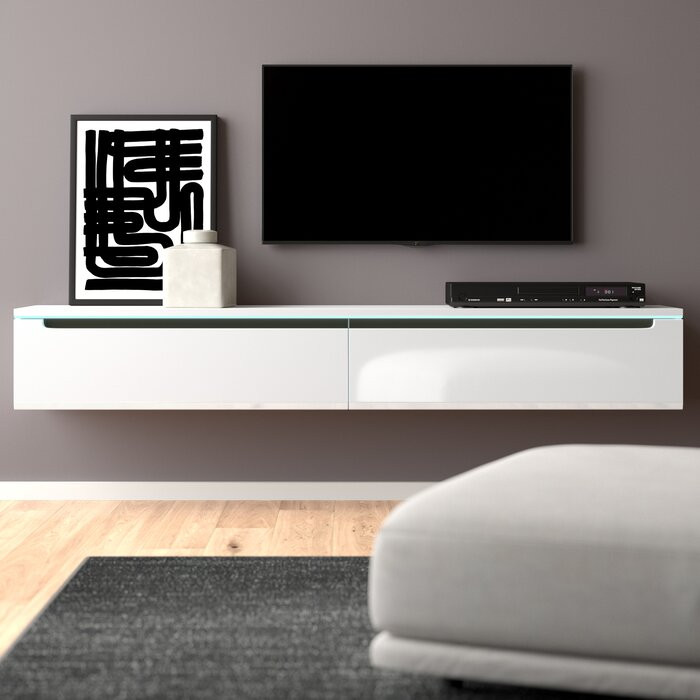 Comoda TV Shively, MDF, alba, 180 x 24 x 33 cm imagine 2021 chilipirul zilei