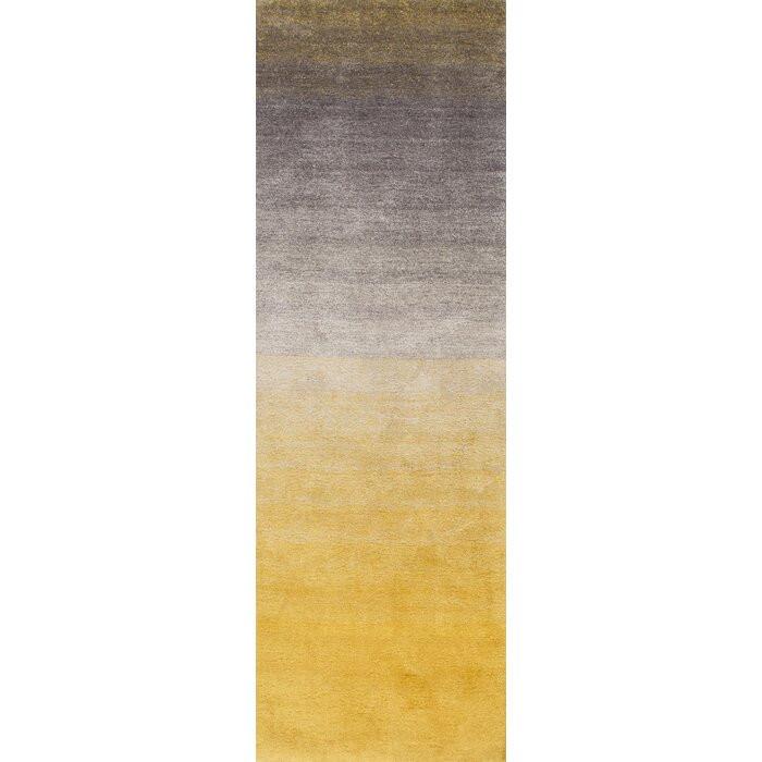 Covor Kral, poliester, gri/galben, 76 x 243 cm