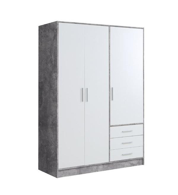 Dressing Shoaf din MDF, alb mat / gri, 200 x 144 cm poza chilipirul-zilei.ro