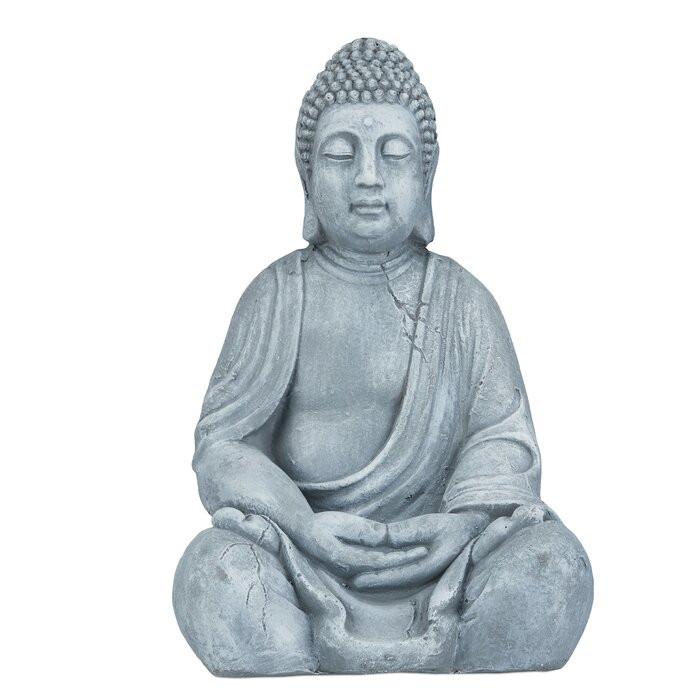 Figurina Buddha Towe, ceramica, gri, 50 x 30 x 25 cm poza chilipirul-zilei.ro