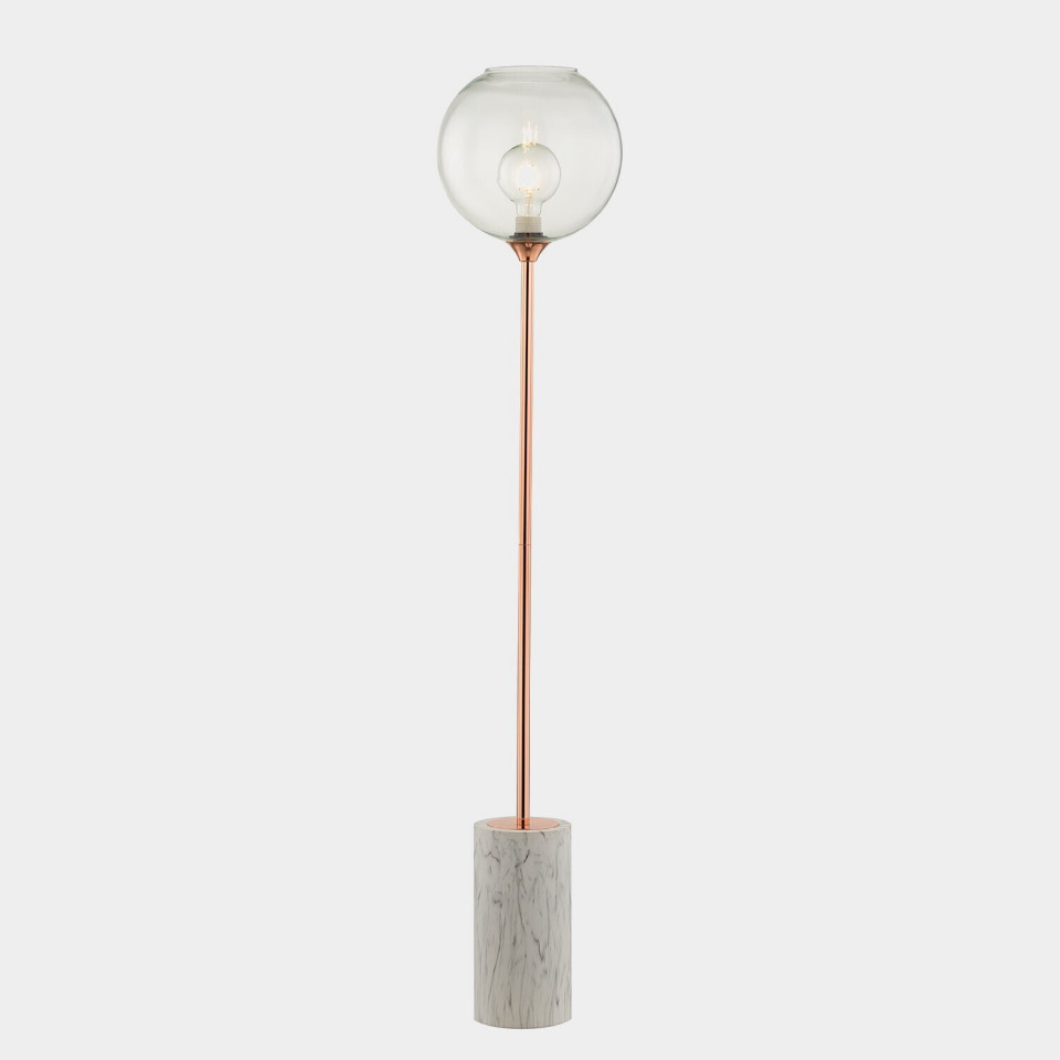 Lampadar Toft, metal/sticla, alb/cupru, 28 x 145 x 28 cm, 25w imagine 2021 chilipirul zilei