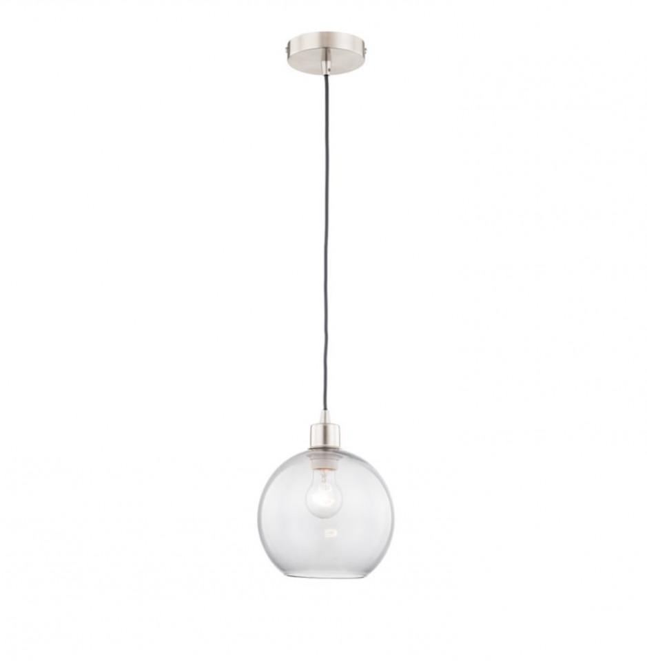 Lustra tip pendul Elven I sticla/fier, transparent, 1 bec, diametru 20 cm, 220 V imagine