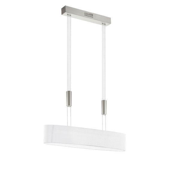 Lustra tip pendul Romao II, LED, metal/textil, alba, 75 x 110 x 17 cm, 16w
