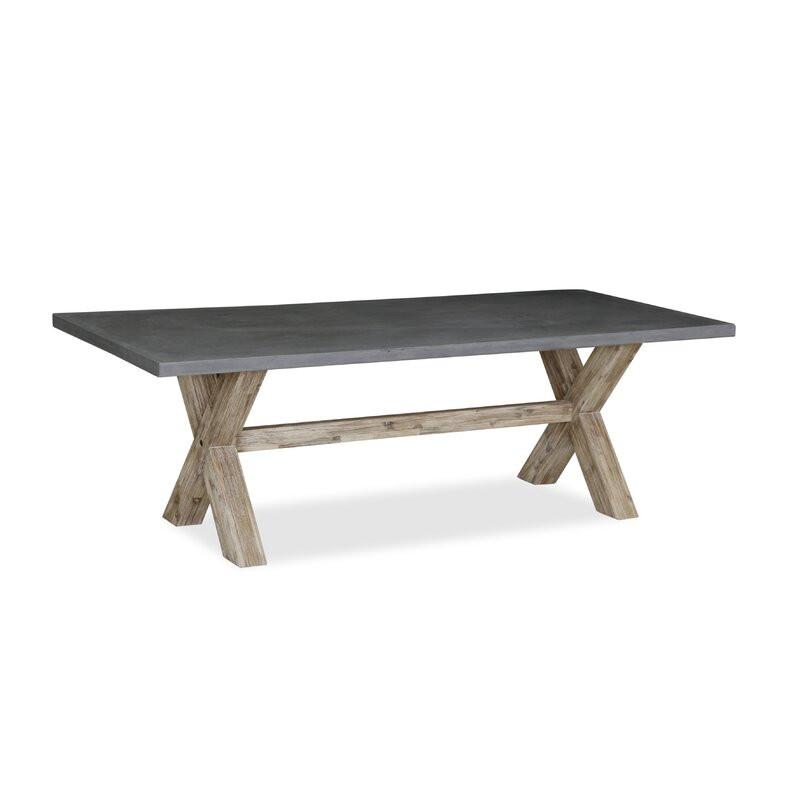 Masă Cardoza din lemn masiv și blat de beton, 190cm L x 100cm W x 75.5cm H imagine chilipirul-zilei.ro