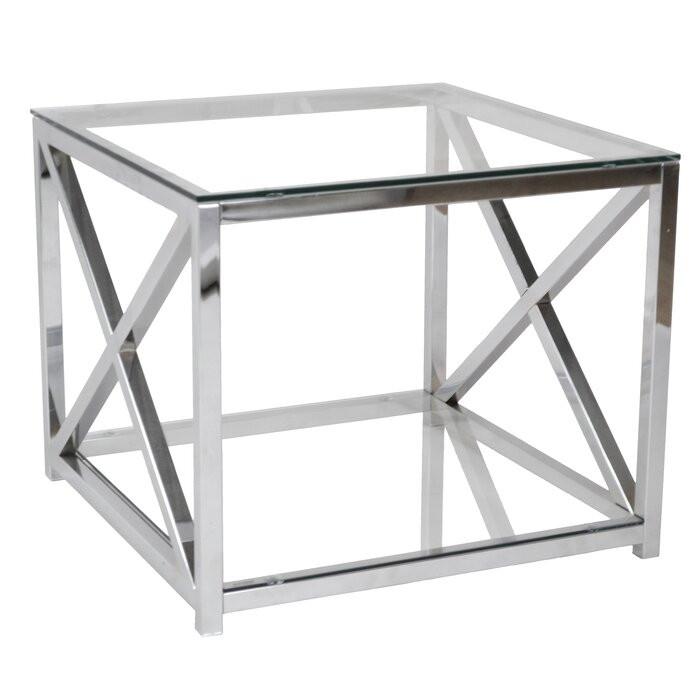 Masă laterală Sipos, sticla, crom, 50 x 60 x 60 cm 2021 chilipirul-zilei.ro