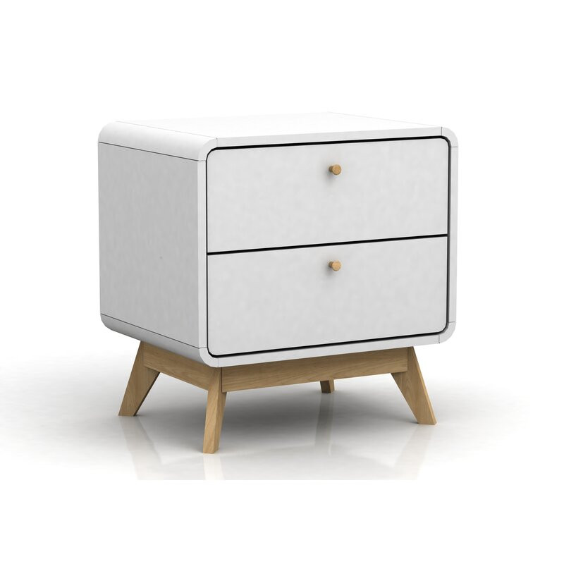 Noptiera Justine din lemn, alb, 53 x 52 cm