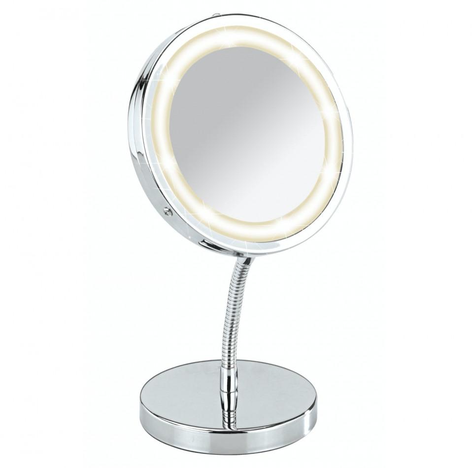 Oglinda cosmetica cu lumina LED crom, argintiu, 27 x 15 x 12 cm 2021 chilipirul-zilei.ro