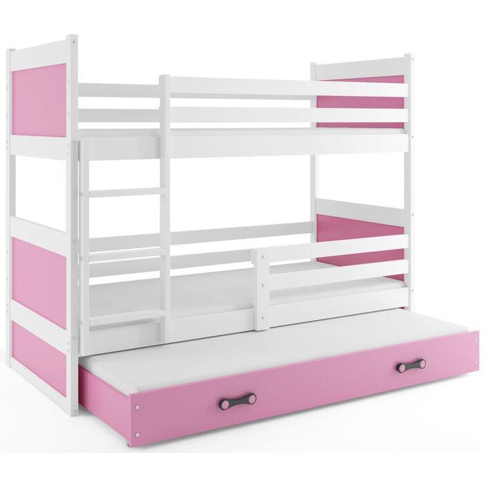 Pat supraetajat cu sertar și canapea Yoselin, lemn, alb/roz, 154 x 97 x 196 cm