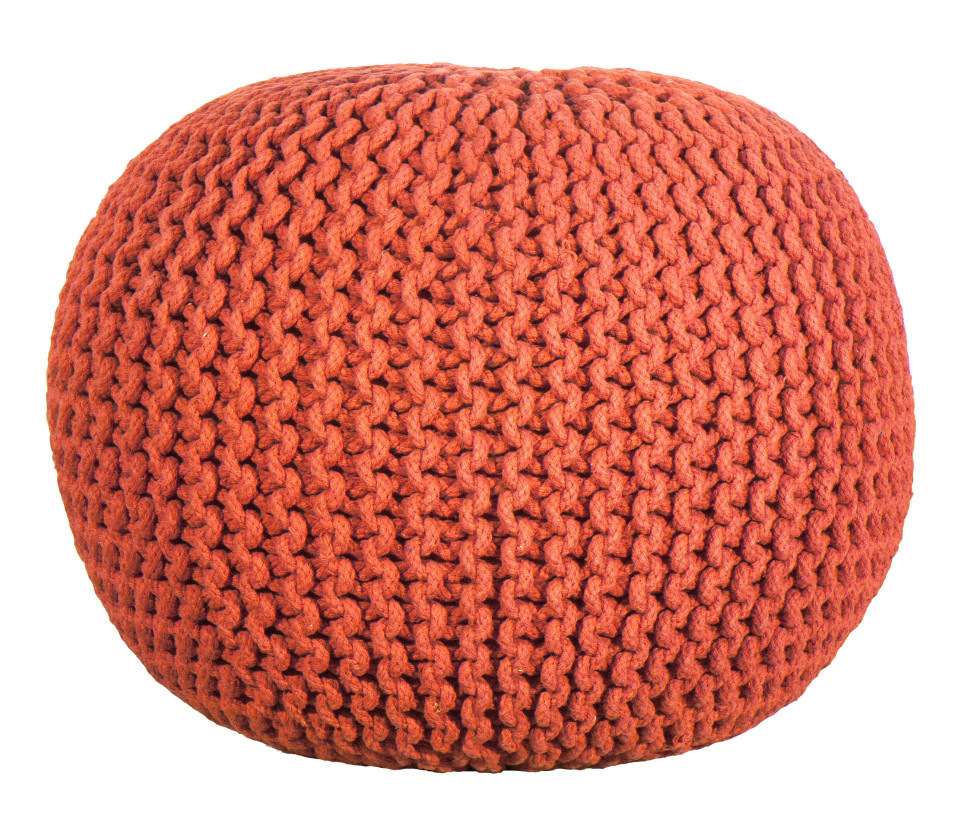 POUF CROCHET, bumbac, rosu, 50 x 35 cm