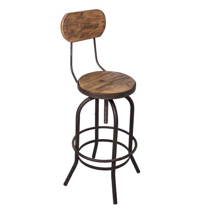 Scaun de bar Kaylyn, metal/lemn, negru/maro, 41 x 40 cm chilipirul-zilei.ro