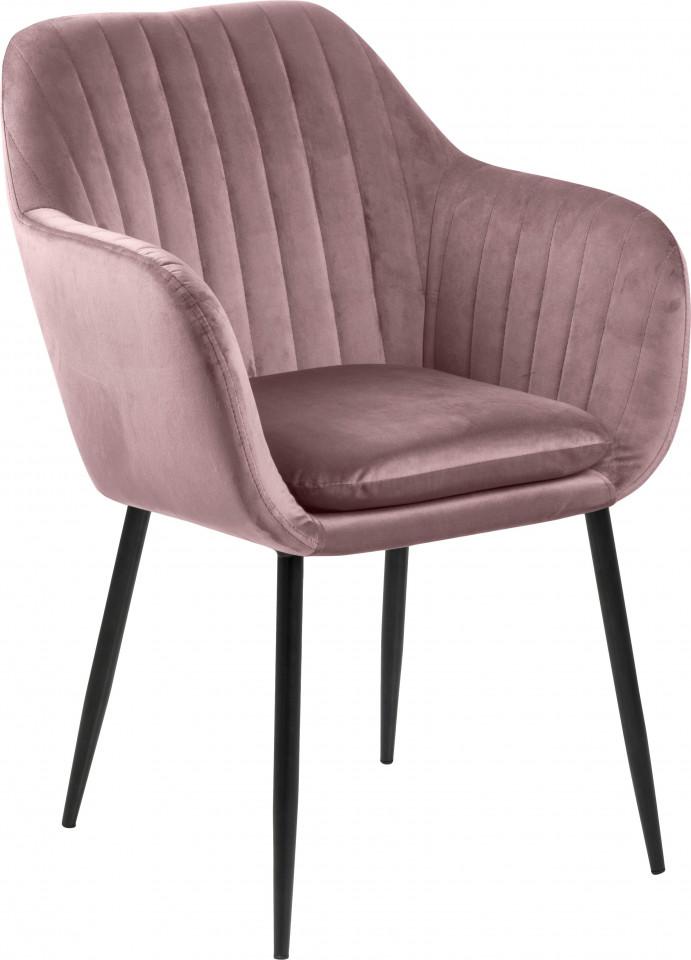 Scaun Emilia, catifea, roz/negru, 57 x 83 x 59 cm imagine 2021 chilipirul zilei