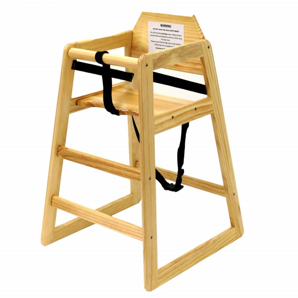 Scaun înalt pentru copii Oypla din lemn natural
