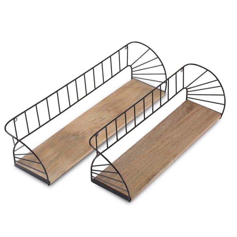 Set de 2 etajere Freda din lemn masiv, 66 x 17 cm