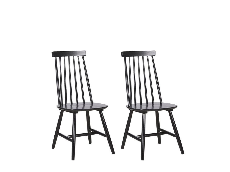 Set de 2 scaune BURBANK, lemn, negru, 45 x 44 x 95 cm