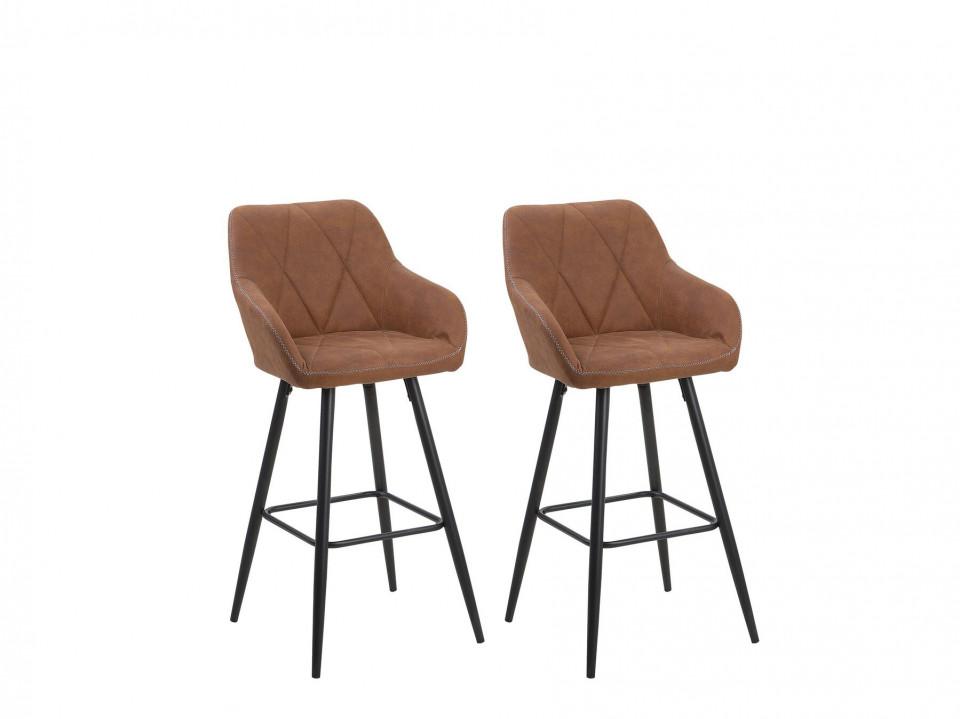 Set de 2 scaune de bar DARIEN, lemn/metal, maro/negre, 41 x 41 x 104 cm