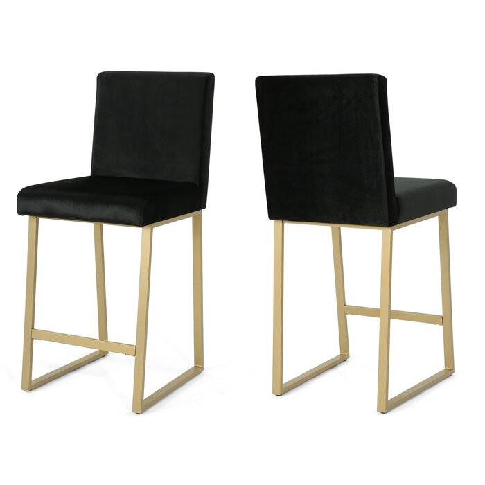 Set de 2 scaune de bar Kilgo, negru, 102 x 45 x 55cm