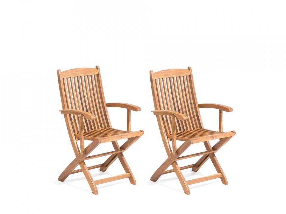 Set de 2 scaune de gradina Maui din lemn masiv, 93 x 42 cm poza chilipirul-zilei.ro