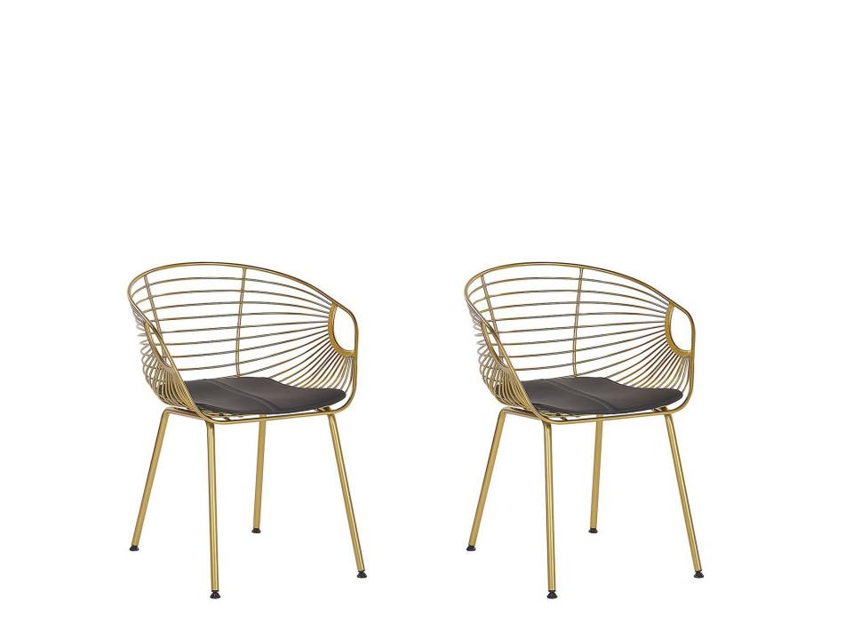Set de 2 scaune HOBACK, metal/piele ecologica, aurii, 46 x 56 x 79 cm imagine 2021 chilipirul zilei