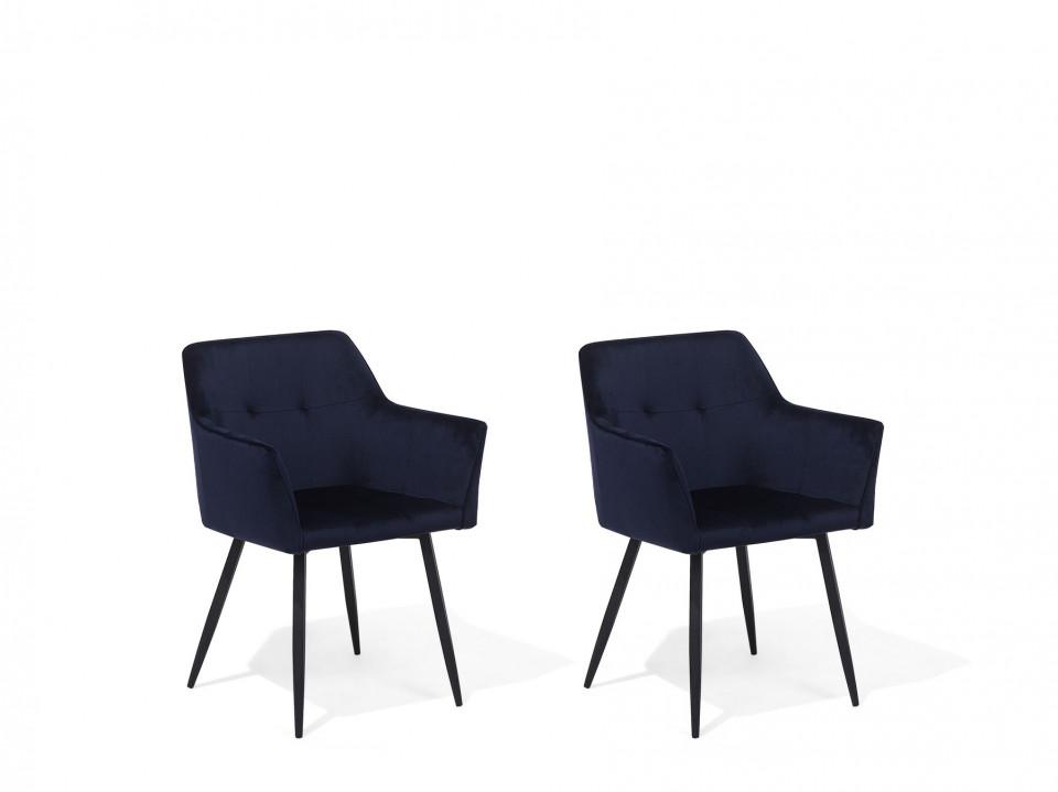 Set de 2 scaune JASMIN, catifea, albastru închis, 84 x 60 x 49 cm chilipirul-zilei 2021