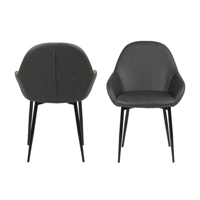 Set de 2 scaune Marnie, metal/spuma, gri, 85 x 60 x 57,5 cm